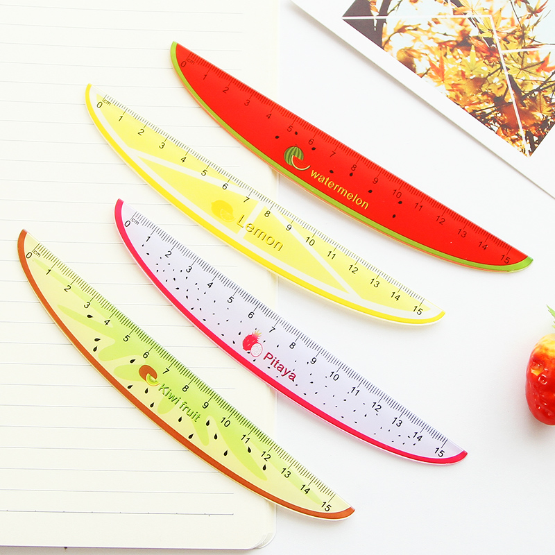 15cm Cute Kawaii Plastic Ruler Creative Fruit Ruler For Kids Student Novelty Item Korean Stationery Random Color