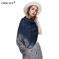 Fashion Women S Scarf Summer Vintage Floral Printed Woman Shawl Satin Cotton Gradient Ladies Scarves Long