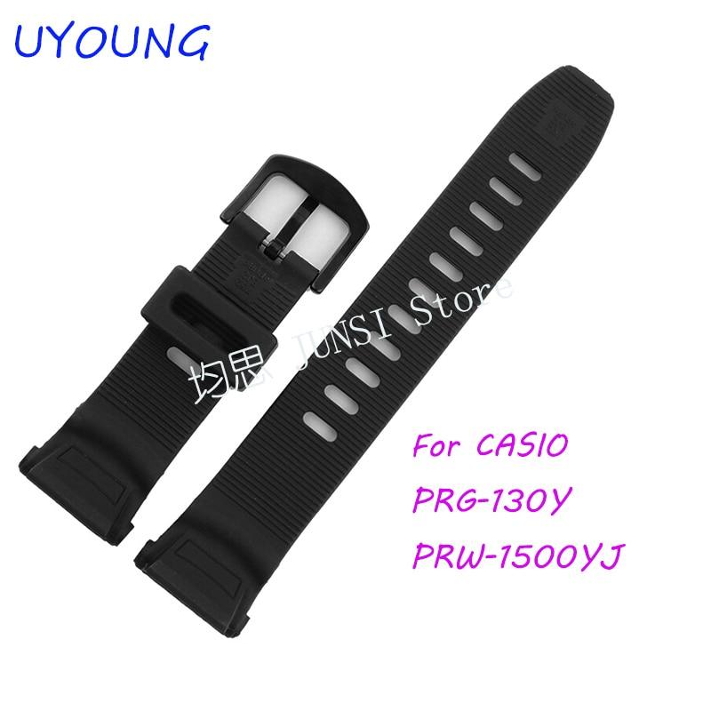 купить UYOUNG Watchband For Casio PRG-130Y/PRW-1500YJ Watch bands Black Silicone Rubber Strap Climbing Bracelet недорого