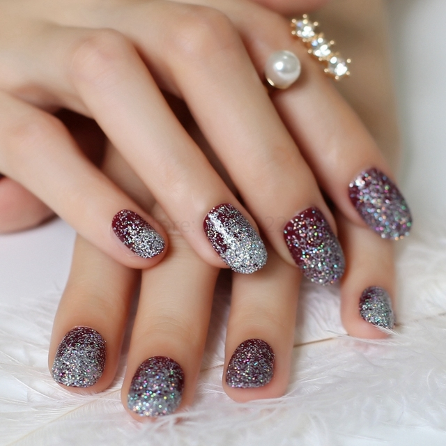 2020 hot sell tiny pink acrylic nails decorative sequins glittering armor Multi-color Leiguang  N32