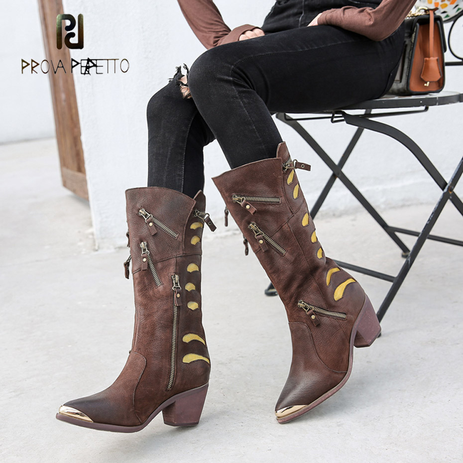 Prova Perfetto high quality sheep real leather short boots metal decoration pointed toe chunky heel women chelsea boots zippersProva Perfetto high quality sheep real leather short boots metal decoration pointed toe chunky heel women chelsea boots zippers