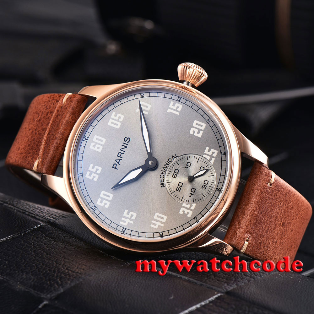 44mm parnis gray dial rose golden case 6498 movement hand winding mens watch810 corgeut 44mm white dial rose golden case hand winding 6498 mens watch