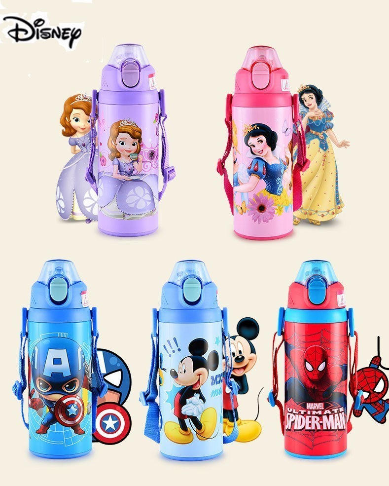 600ML Disney Baby Feeding Cup Children Learn Feeding Drinking Bottle Kids Thermos Cup Durable Tazas Sippy Cup As Birthday Gift