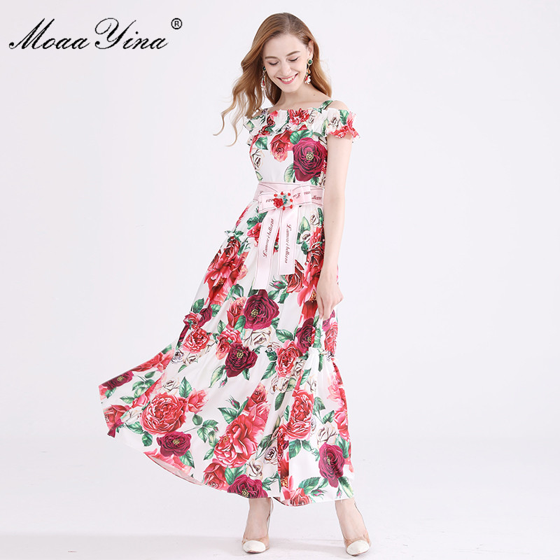 MoaaYina Fashion Designer Runway Dress Summer Women Spaghetti Strap Rose Floral Print Ruched Beading loveliness Elegant Dress-in Dresses from Women's Clothing    1