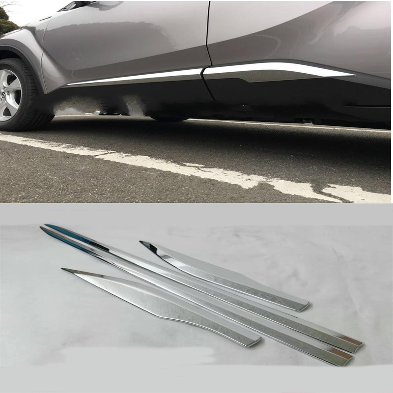 KOUVI FIT FOR TOYOTA CHR C-HR 2017 CHROME SIDE DOOR BODY MOLDING TRIM COVER LINE GARNISH PROTECTOR ACCESSORIES 4PCS/SET 4pcs set abs chrome car body side guard strip garnish trim decal cover molding fit for toyota camry 2018 car styling accessories