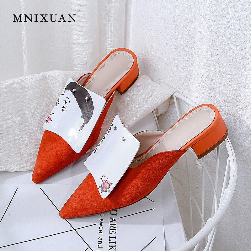 Sandalen Heels Spitz Mode Neue Wildleder Schuhe Slip Komfortable Ankunft 2019 Medium Schwarzes Ferse Frauen stripe Schuh Auf orange Mnixuan Faul Keine Schafe pUXqzU