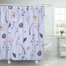 Cortina de ducha con ganchos flor Vintage rosa Floral con flores silvestres acuarela jardín pájaro elegante amor decorativo Baño