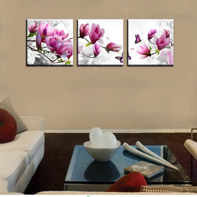 Uxury elegant canvas painting wall pictures 3 panel wall art such beauty flower canwas art home decor modern canvas printsj0121 in painting calligraphy