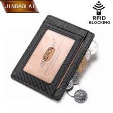 JINBAOLAI RFID Blocking Business Card Holder Wallet Slim Minimalist Men  Front Pocket Leather trave wallet tarjetero hombre