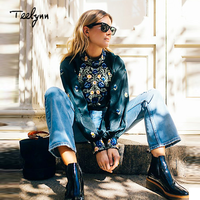 40c87a90a4 TEELYNN BOHO Women s Blouses 2018 floral embroidered lantern long sleeve  satin blouse Casual Dark green Blouse short femme top