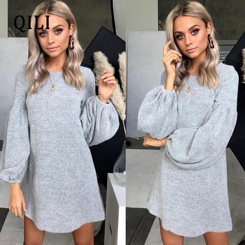 QILI Women Knitting Cotton A-Line Dress O-neck Lantern Sleeve Mini Dresses Black Wind-red Gray Dark-blue Casual