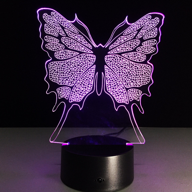 3D Lamp Butterfly 7 Color Led Night Lamps for Kids Touch Led USB ...