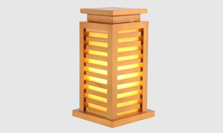 Japanese Style Wood Table Lamp Nightlight Home Decorative