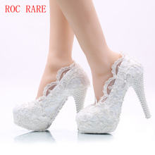 Beautiful Lace Women Wedding Shoes Custom Heels Handmade Lace Women Party Shoes Prom Pumps ON promotion