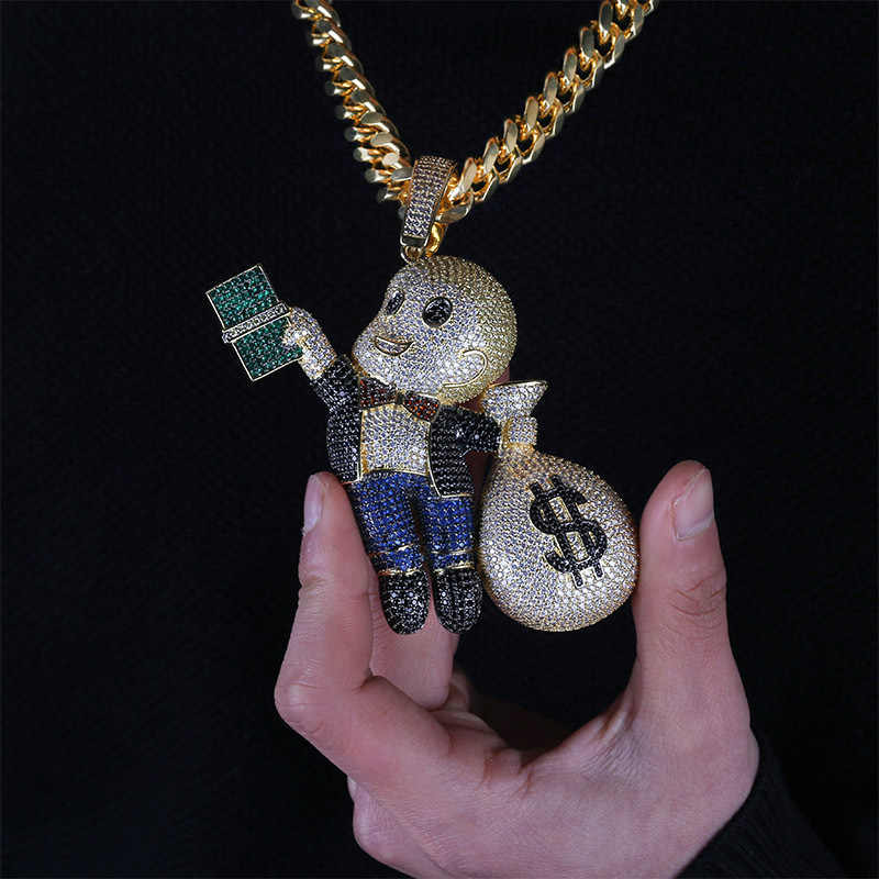 Hip Hop AAA CZ Gold Dollar Gangster Kid Little Rich Rhinestone Iced Out Pendants Statement Necklaces Men Luxury Street Jewelry
