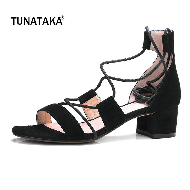 Suede Comfort Square Heel Open Toe Woman Gladiator Sandals Rome Lace Up Party High Heel Shoes Woman Black Wine Red black sequins embellished open back lace up top