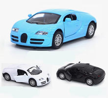 High Imitation Bugatti Alloy Model Car 1: 34 Alloy Pull Back Car Toys Music &flash Toy Vehicles Free Shipping(China)
