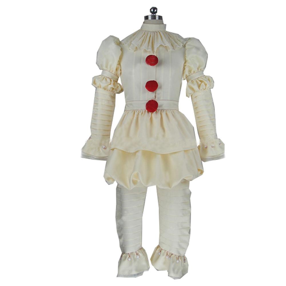 2017 Stephen King's It Pennywise Cosplay Costume Adult Men Women Clown costume suit Custom made fancy Halloween Terror costume