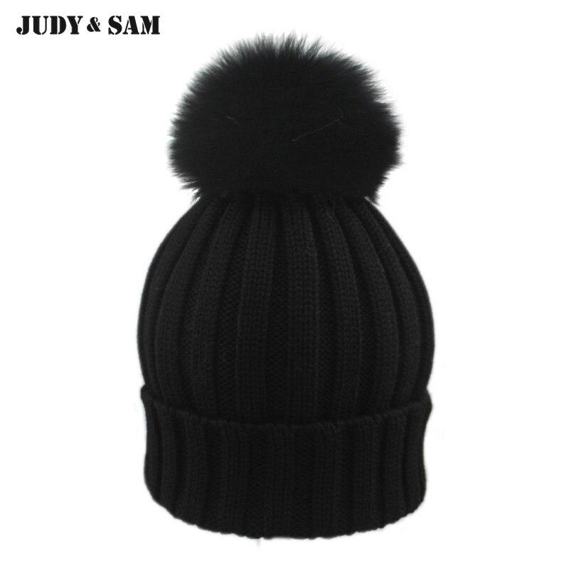 2015 New Brand Female Elegent Style 100% Merino Woolen Fitted Hat with Luxury Genuine Fox Fur Pom Pom Black Gorro Beanie for Men 2015 new brand female elegent style 100