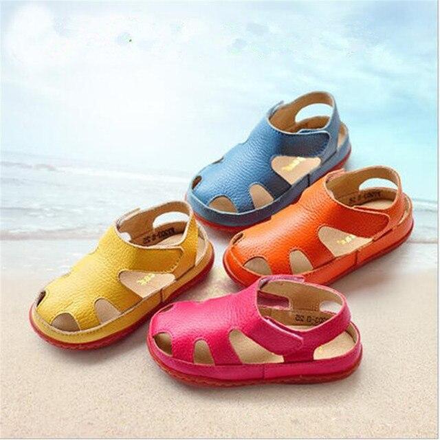 Натуральная кожа дети сандалии детская обувь вырез сандалии мальчиков девочек сандалии детей кожаные ботинки