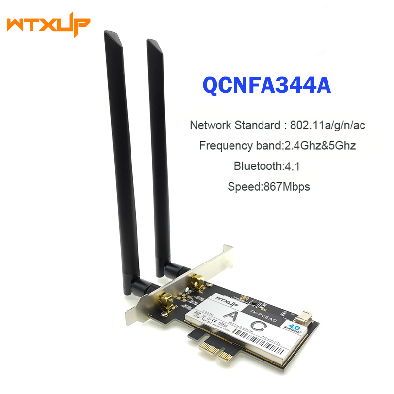 US $16 5  802 11ac PCI Express WiFi Adapter for Qualcomm Atheros QCNFA344A  NFA344 Wireless Desktop network Card Bluetooth 4 1 BT 4 1-in Network Cards