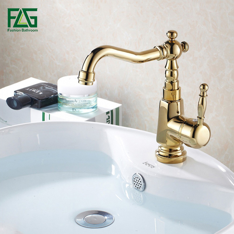 FLG Luxury Basin Faucet Bathroom Sink Mixer Golden Finish Cold and Hot Brass Tap Water Faucet Single Handle Basin Mixer Tap M088 okaros bathroom basin faucet brass golden polish swan shape heighten single handle hot&cold water vanity sink mixer tap 2016 new