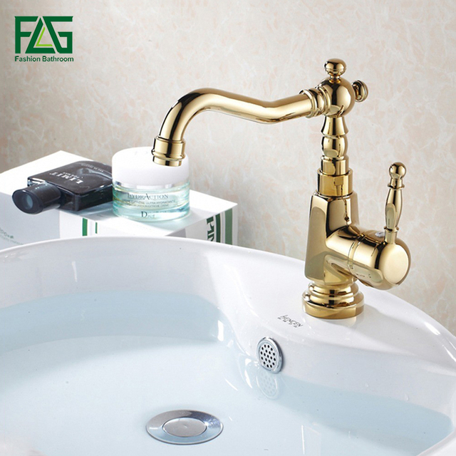 FLG Luxury Basin Faucet Bathroom Sink Mixer Golden Finish Cold and ...