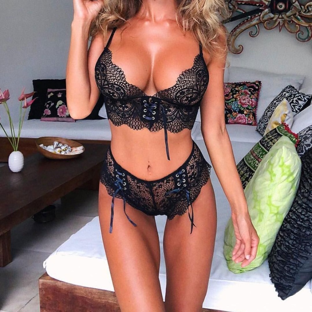 Transparent Women Lace Sexy New Bra Seamless Push Up Sets 2018 Hot Bandage Lingerie Underwear Suits Wire Free Bralette and Panty image
