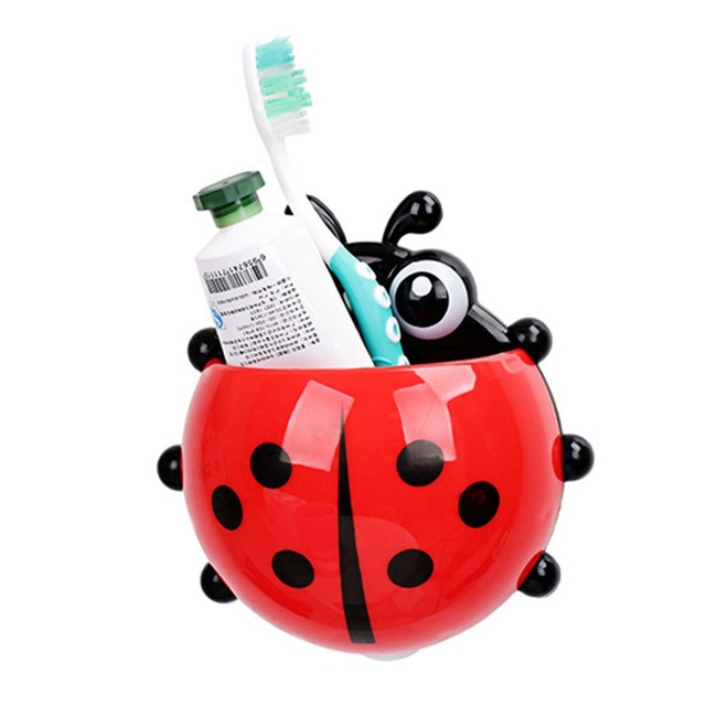 1 шт. Божья коровка для зубных щеток туалетные принадлежности Зубная паста держатель ванная комната наборы sucti On крючки зубная щетка c On тейнер Ladybird распродажа