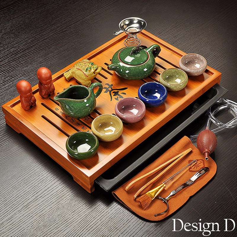 Jingdezhen Purple Clay Kung Fu Tea Set Drinkware Tea Cup,Tureen Infuser,Chinese Tea Ceremony with Gaiwan,Chahai Tea Table