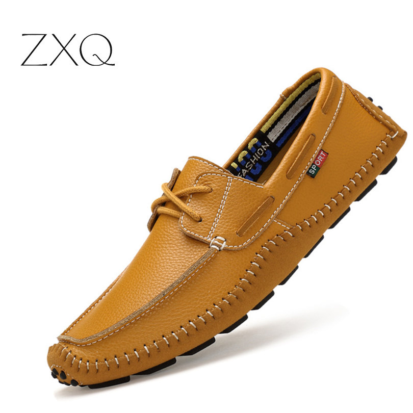 High Quality Genuine Leather Men Boat Shoes Moccasins Fashion Men Flats Comfortable Casual Driving Shoes Size 38-47 car styling tail lights for toyota highlander 2015 2016 led tail lamp rear trunk lamp cover drl signal brake reverse