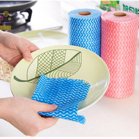 1 Ring 50pcs Tear Off Point Roll Dish Cloth Nonwoven Micro Fiber Cleaning Cloth Kitchen Nonstick