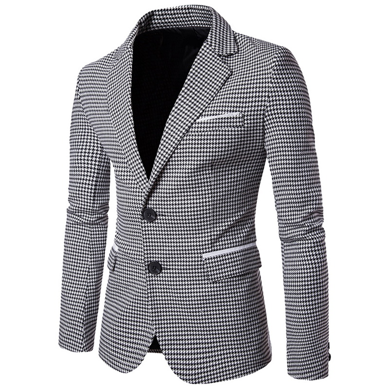 LASPERAL Men Blazer Jacket Veste-Costume Wedding-Dress Plaid Business Long-Sleeve Print