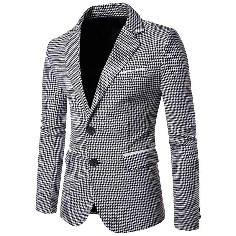 LASPERAL Plaid Print Casual Men Blazer Fashion Long Sleeve Wedding Dress Coat Formal Veste Costume Business Mens Blazer Jacket