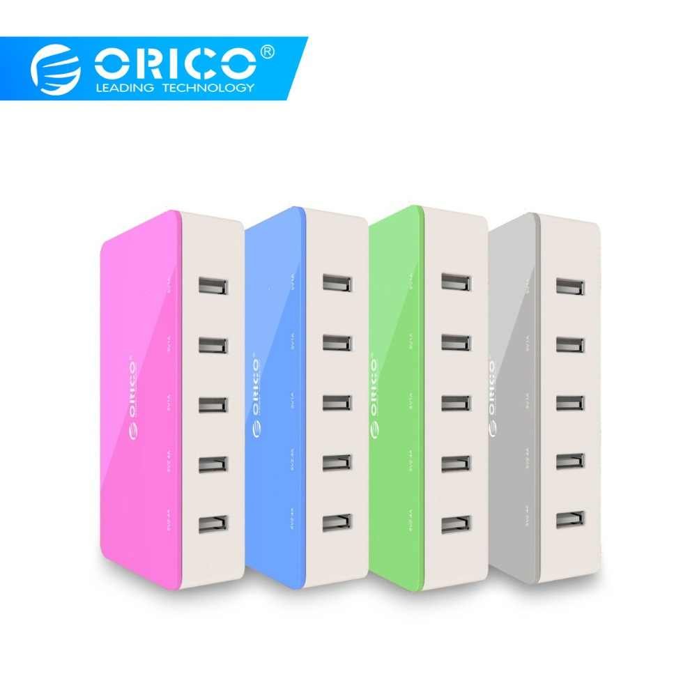 Orico 5 Port Desktop Charger Ponsel Travel Charger Usb Cepat Smart Charger untuk Smartphone Samsung Iphone Tablet