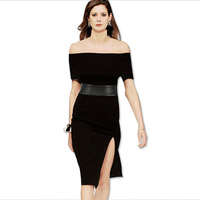 Sepaugot Bodycon Dress Pretty Women Party Bandage Dress Sexy Autumn Dresses Slash Neck Women Black Dress Vestidos White