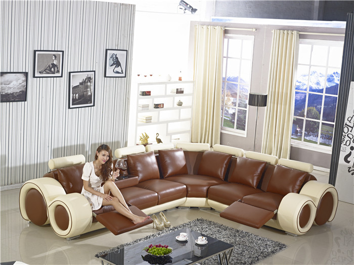 New Design Large SIze L Shaped Recliner Sofa, Made In Top Grain Leather  Corner Sofa With Recliner Chair Coffee Table Sofa AA002 In Living Room Sofas  From ...
