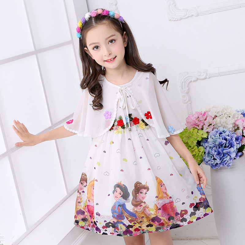 2019 summer   dress     girl   cartoon role playing costume chiffon   flower     girl     dress   shawl 3-13 birthday gift