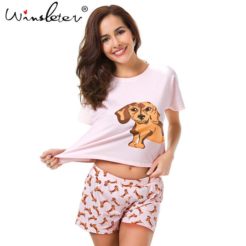 Loose Pajama Sets Women Cute Dachshund Print 2 Pieces Set Cotton T shirt Top + Shorts Elastic Waist Plus Size White Pink S6706