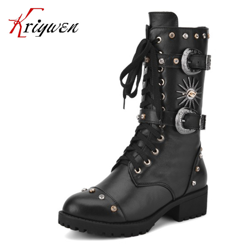 ФОТО 2016 genuine leather punk Style Women mid-calf Boots winter autumn cowhide brown Back Handmade Shoes round toe motorcycle  Boots