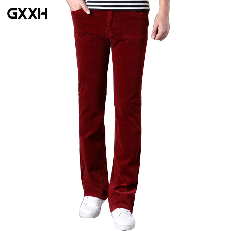 Spring and Autumn Mens jeans Casual Micro Bell-bottomed Corduroy trousers Korean version of the Stretch Slim Wide Leg pants