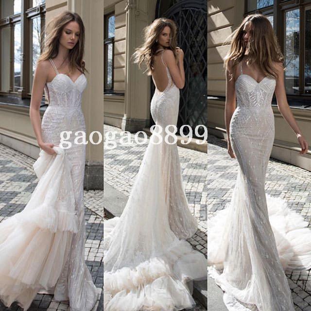 785c97e9bc25a Berta Bridal 2016 Spring Lace Tulle Mermaid Wedding Dresses Sexy Custom  Make Chapel Train Backless Trumpet Wedding Gown