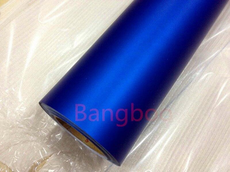 1.52X18 M Amovible de Couleur Mat Chrome bleu foncé Chrome Satin Mat emballage de voiture en vinyl Autocollant