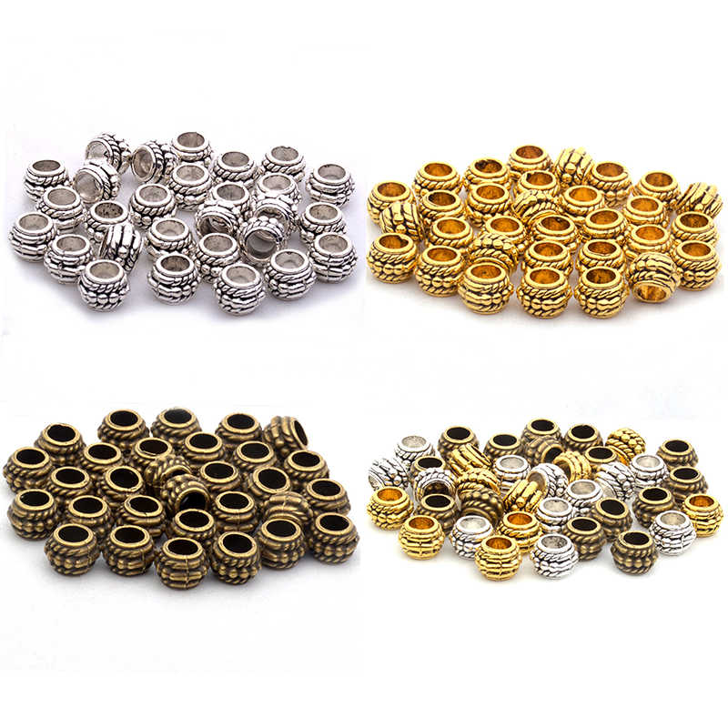 6x8mm 50pcs Silver/Gold/Bronze Tibetan Silver Beads Antique Metal Gold  Alloy Pattern Spacer Beads For Jewelry Making