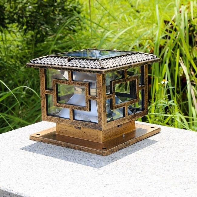 decoração pilar lâmpada portão recarregável solar jardim luz frete grátis 1pc