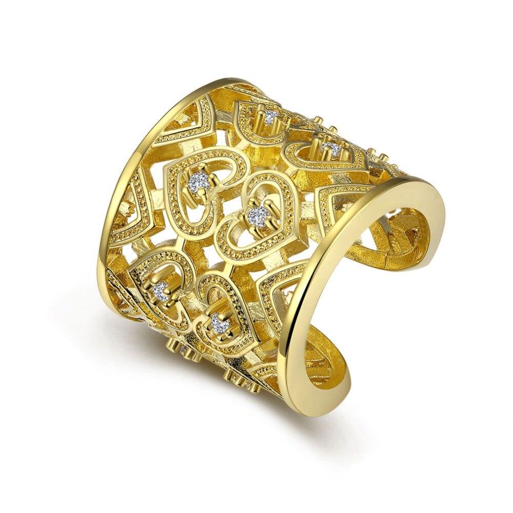 Quente em forma de coração cor de Ouro anel de dedo com zircon moda jóias  bonito street style presentes de Dia Dos Namorados para as mulheres R107 f5aa4644ea