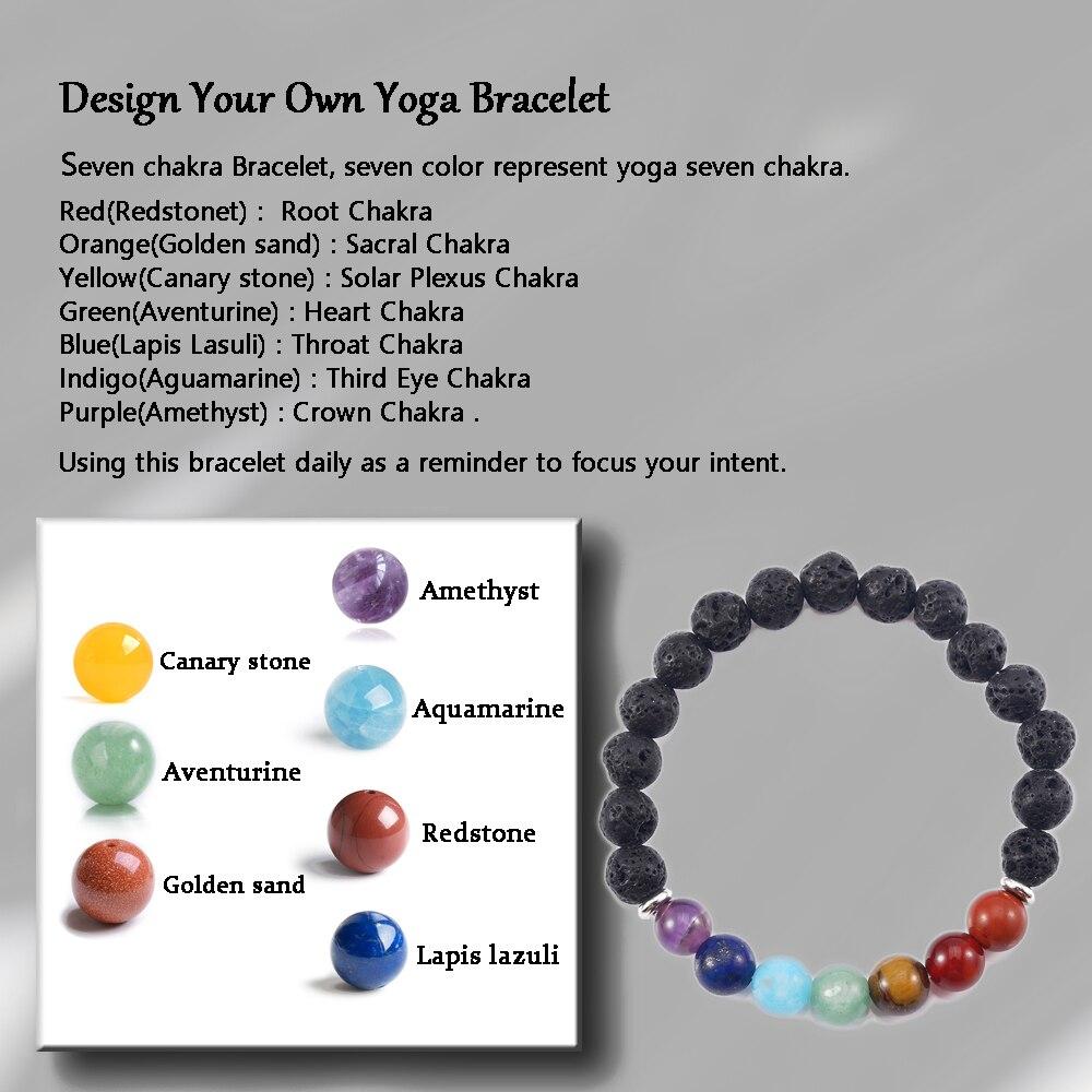 Tl Hot Ing Nature Lava Stone Healing Bracelets Rainbow Seven Chakra Positive Energy Handmade Diy Yoga In Strand From