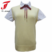 Japanese Kawaii High School Uniform Sweater Cute Cosplay Sleeveless Sweater Vest Solid V Neck Knitting Clothes