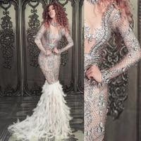 Для женщин новый сверкающее стекло со стразами перо сексуальное платье День рождения, празднование выпускного вечера наряд для певцов в но