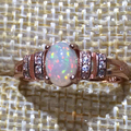 Dazzling opal ring 0.7ct 5mm*7mm natural opal gemstone ring solid 925 sterling silver opal ring romantic anniversary gift